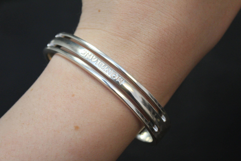 Rare Sterling Silver Men S Designer Montblanc Bangle Bracelet Men S