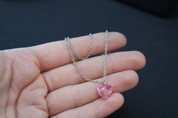 Sterling Silver Pink Gemstone Heart Drop Necklace… - image 3