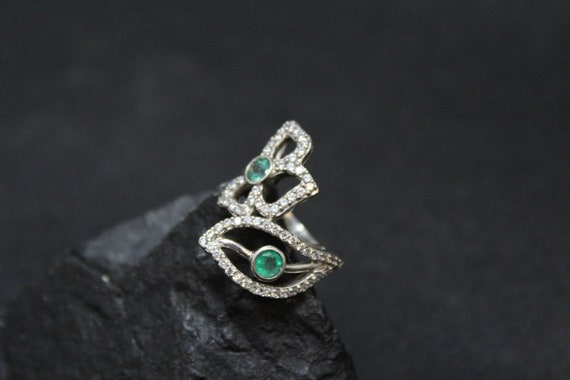 Sterling Silver Emerald and CZ Flower Ring, Floral