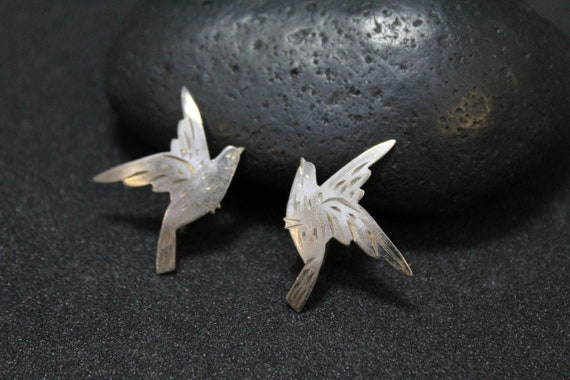 Sterling Silver Screw Back Bird Earrings, Bird Ear
