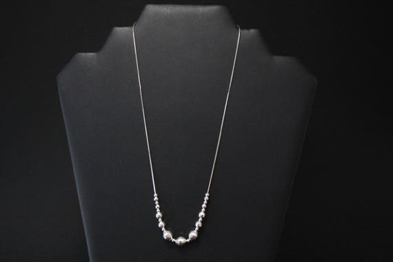 Sterling Silver Disco Ball Beaded Necklace, Sterli