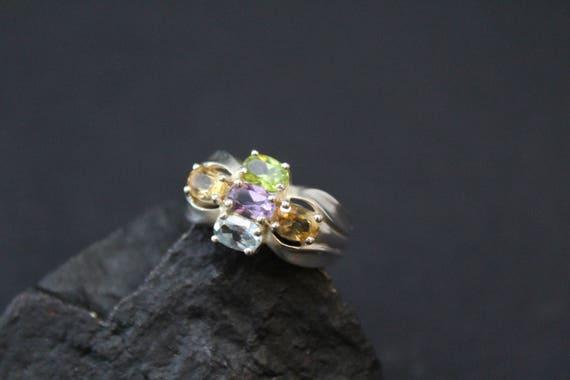 Sterling Multigem Ring, Sterling Silver Gemstone C