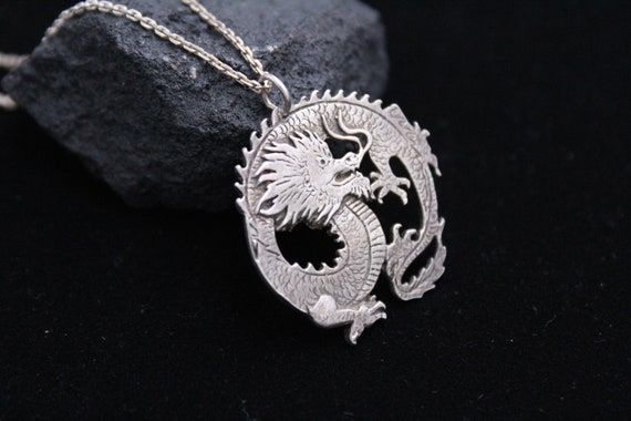 925 Dragon Necklace, Sterling Dragon Pendant on ch