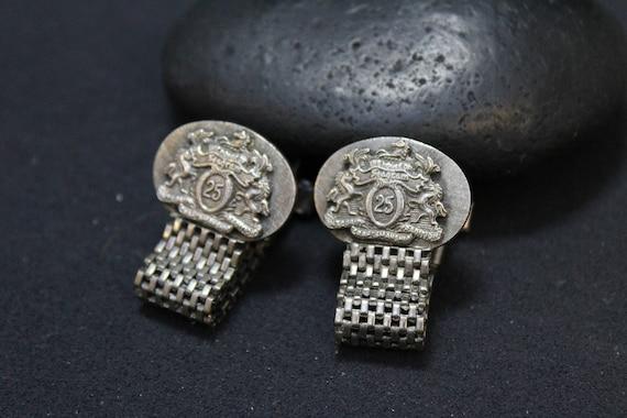 Rare Sterling Silver Seagram Fold Over Cuff Links,