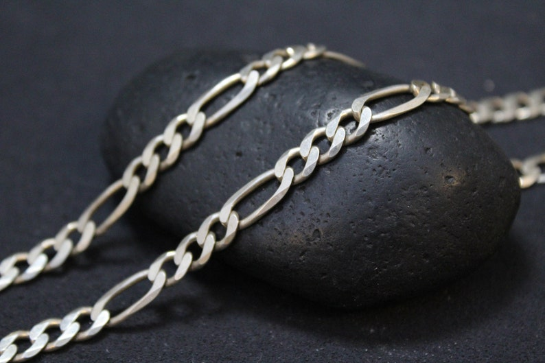 db9a085f83dcf Sterling Silver Unisex 24 inch Figaro Link Chain, Sterling Silver Figaro  Chain, Men's Sterling Silver Chain, Men's Silver Chain, Figaro Link
