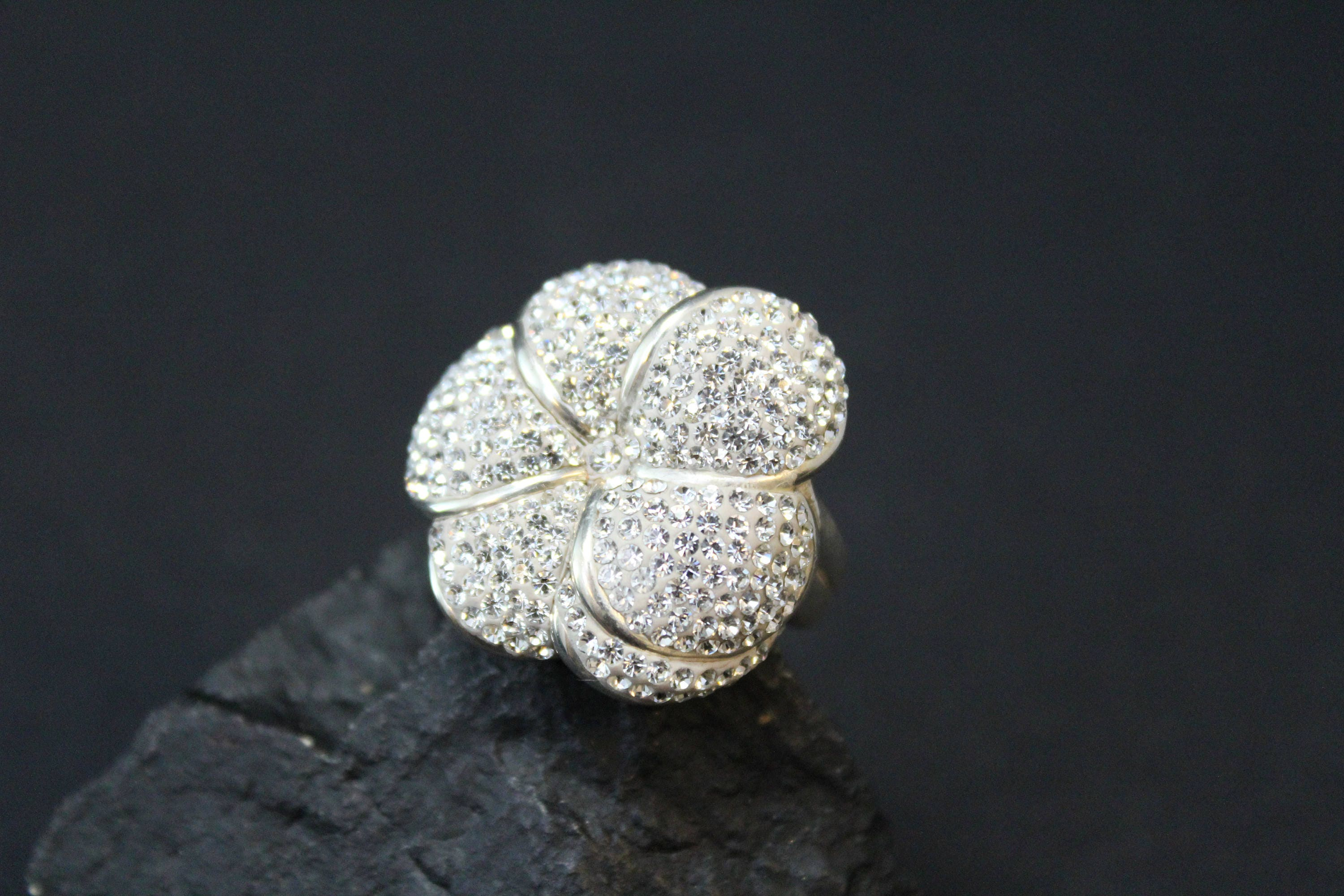 Sterling silver pave crystal flower ring sterling silver hawaiian sterling silver pave crystal flower ring sterling silver hawaiian flower ring sterling plumeria ring big sterling flower ring izmirmasajfo