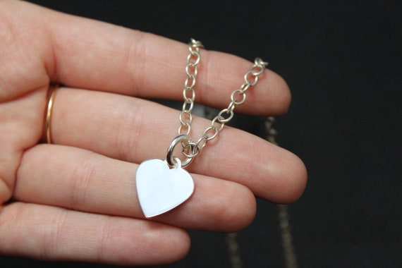 Sterling Silver Heart Necklace, Sterling Silver He