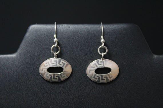 Sterling Greek Key Dangle Earrings, Sterling Silve