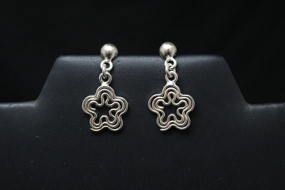 Sterling Silver Dangle Flower Earrings, Sterling F