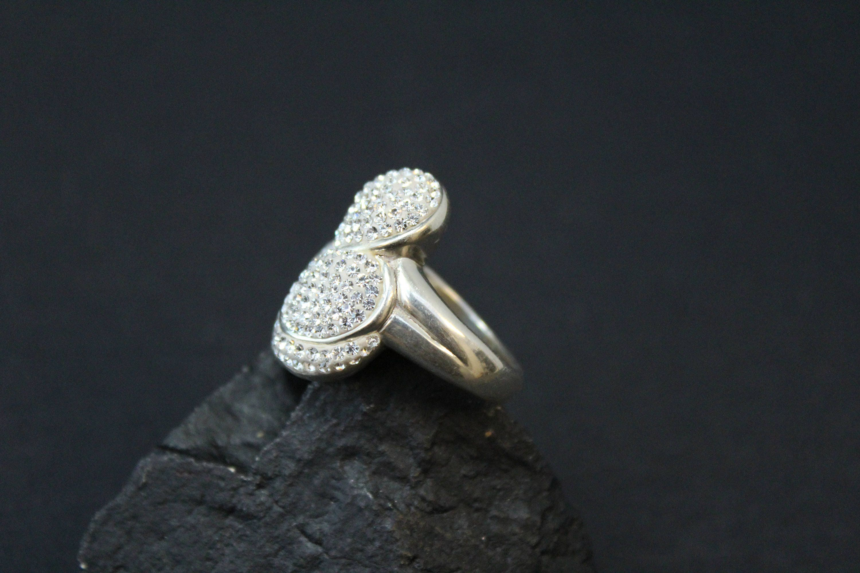 Sterling silver pave crystal flower ring sterling silver hawaiian big sterling flower ring gallery photo gallery photo izmirmasajfo