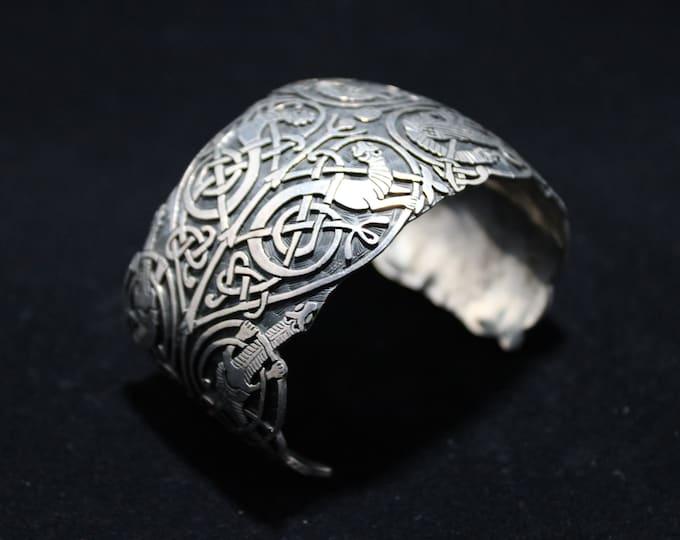 Designer Large Oxidized Sterling Open Cuff Bracelet, Wide Highlander Sterling Silver Lizard Design