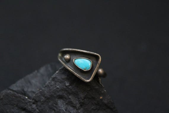 Sterling Silver Old Pawn Turquoise Shadowbox Ring,