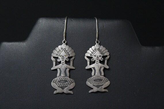 Sterling Silver Tribal Figure Dangle Earrings, Tri