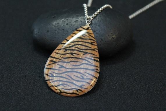 Sterling Silver Enamel Tiger Stripe Pendant, Anima