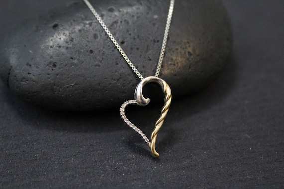 Sterling Silver Open Heart Necklace with Gold and