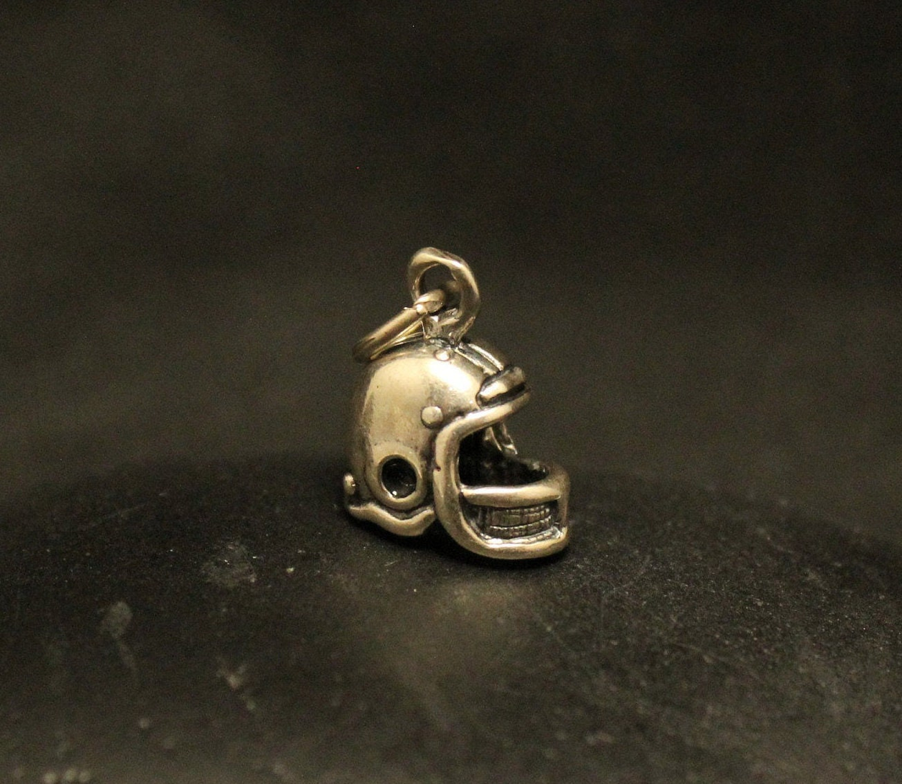Football Helmet Sterling Silver Vintage Charm For Bracelet