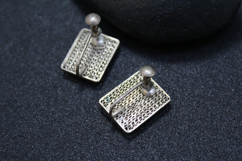 Antique Chinese Export Scrimshaw Screw Back Earrings Filigree Bone Asian Jewelry