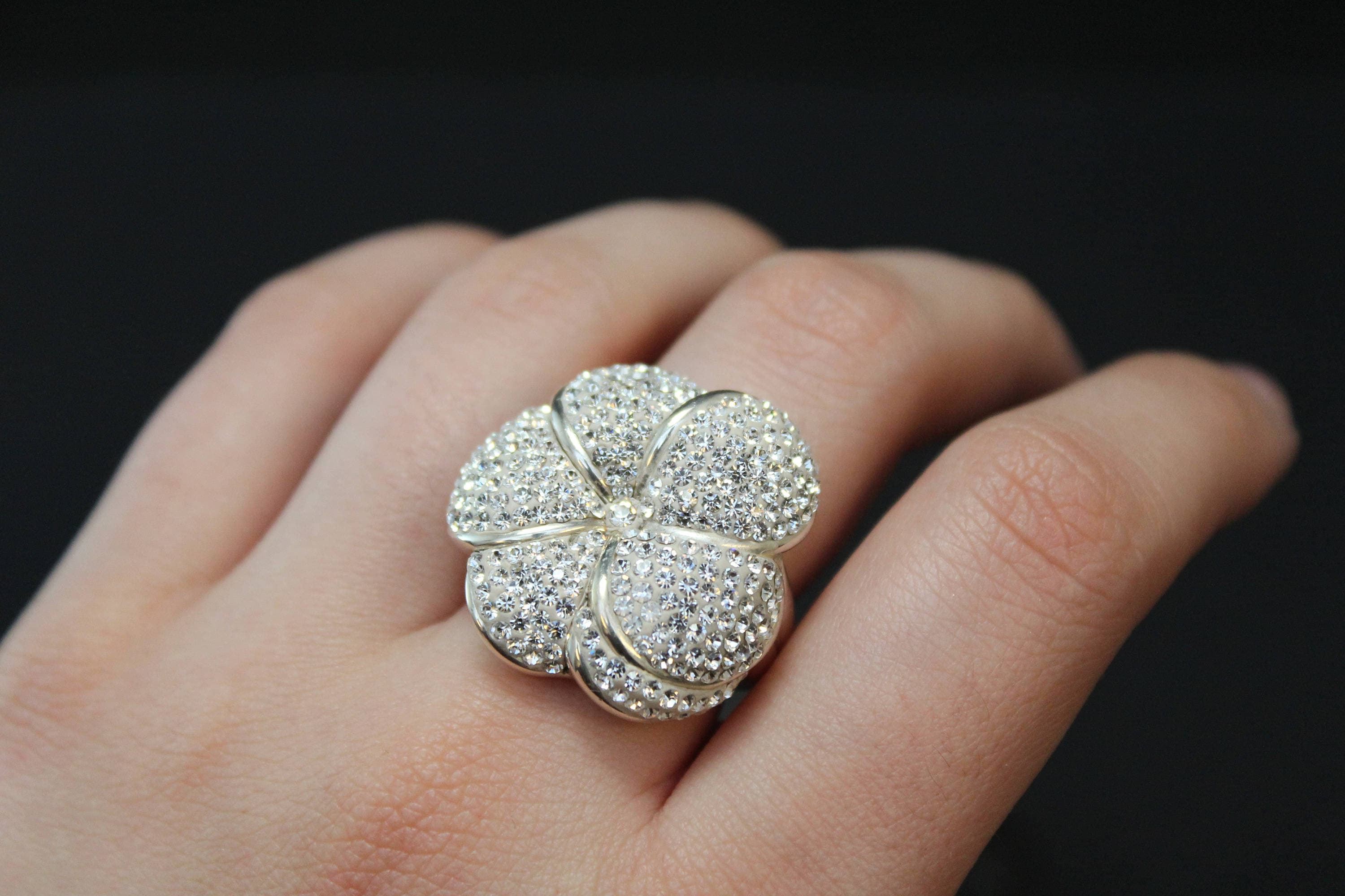 Sterling silver pave crystal flower ring sterling silver hawaiian shipping izmirmasajfo