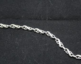 """Sterling Silver Fancy Cubic Zirconia """"X"""" Bracelet, Sterling Silver Cubic Zirconia Kiss Bracelet"""