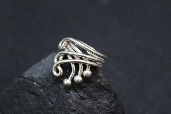 Simple Sterling Silver Swirl Bypass Ring, Sterling