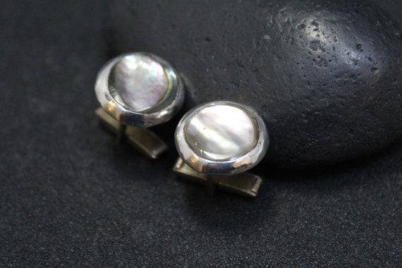 Sterling Silver Abalone Cuff Links, Round Sterling