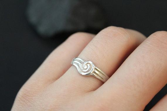 Silver Swirl Band Ring,  Silver Swirl Ring, Silver