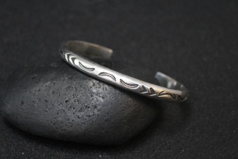 Navajo Bracelet Navajo Stamped Cuff Sterling Tribal Cuff Bracelet Sterling Silver Native American Stamped Cuff Bracelet Navajo Cuff