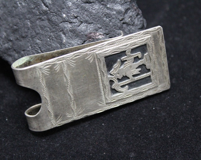Coin Silver Money Clip, Warrior Silver Money Clip, 900 Fine Solid Silver Men's Money Clip, Vintage Sterling Money Clip