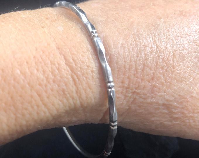 Vintage Sterling Silver Bamboo Bangle Bracelet