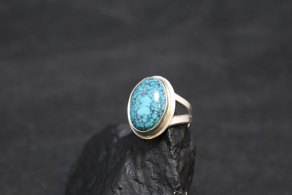 Sterling Silver Spiderweb Turquoise Ring