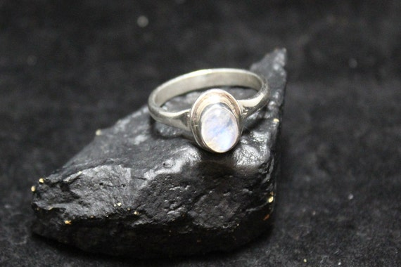 Sterling Silver Moonstone Ring, Simple Silver Boho