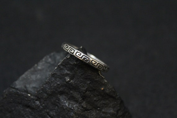 Sterling Silver Greek Key Band Ring, Greek Ring, G