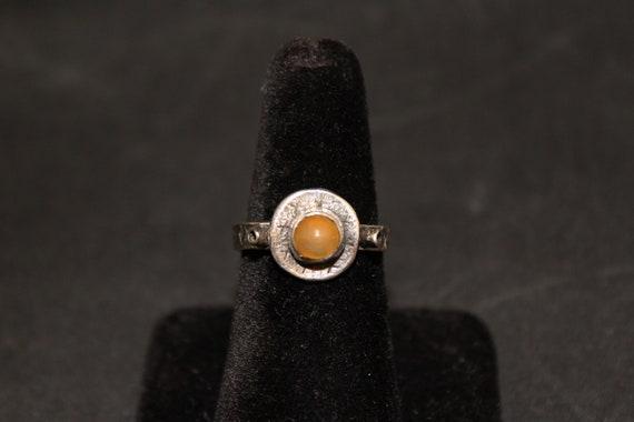 Bohemian Design Citrine Gem Silver Ring, Tribal Ci