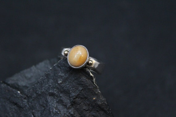 Sterling Silver with Gold accents Mexican Opal Rin