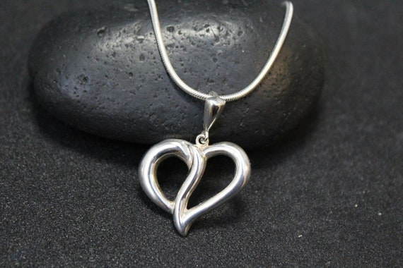 Sterling Silver Modern Heart Necklace, Sterling He