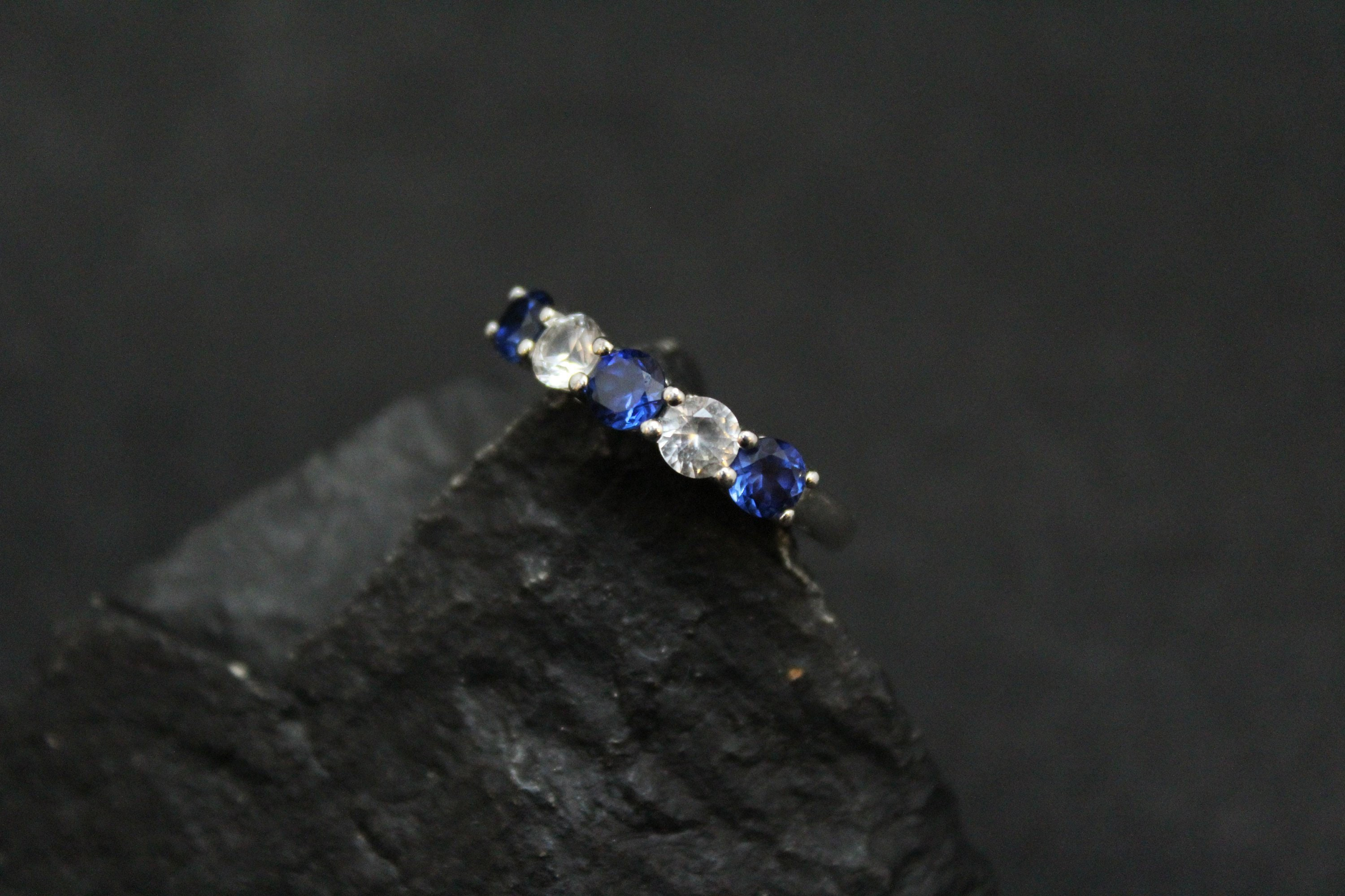 Sterling Synthetic Blue and White Sapphire Eternity Band