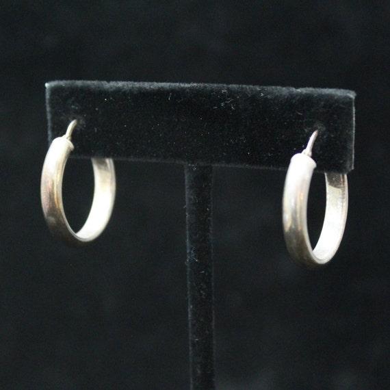 Sterling Silver Minimalist Hoop Earrings, Vintage