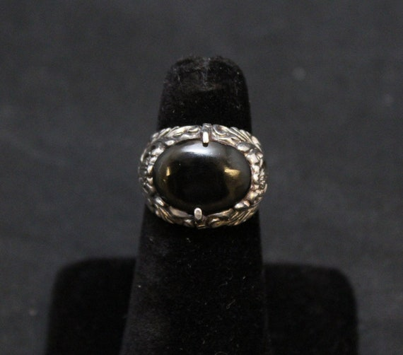 Sterling Silver Floral Cut Out Onyx Ring, Sterling