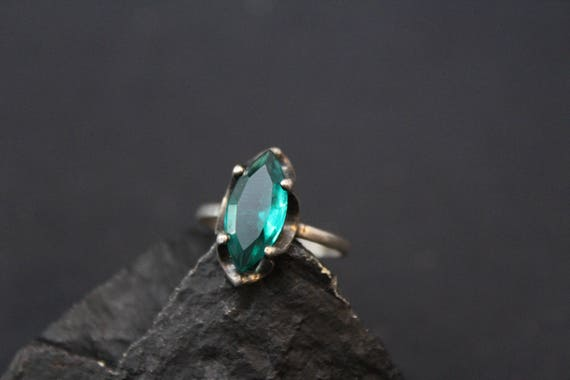 Sterling Silver Green Glass Marquise Gemstone Ring