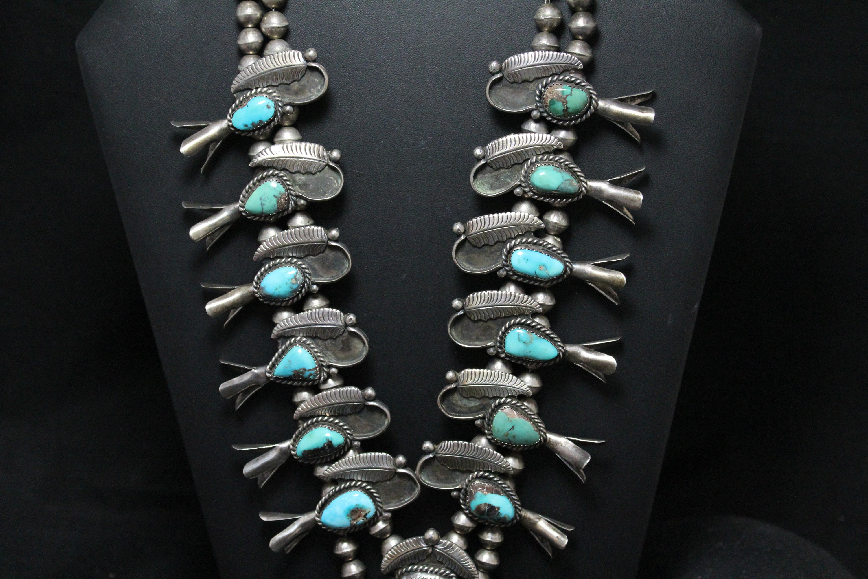 024136f60 Sterling Silver Native American Turquoise Squash Blossom, Navajo Squash  Blossom, Turquoise Necklace, Old Pawn Indian Jewelry