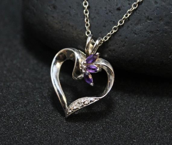Sterling Silver Amethyst Open Heart Necklace, Open
