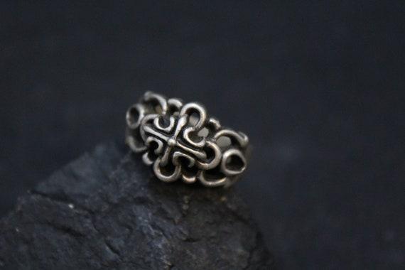 Sterling Silver Ornate High Relief Biker Ring, Ste