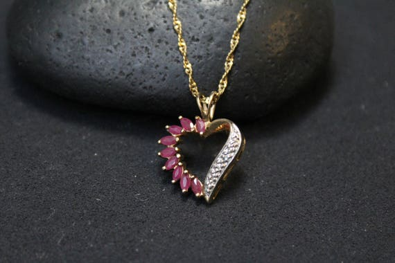 Sterling Silver Gold Overlay Ruby Heart Necklace,