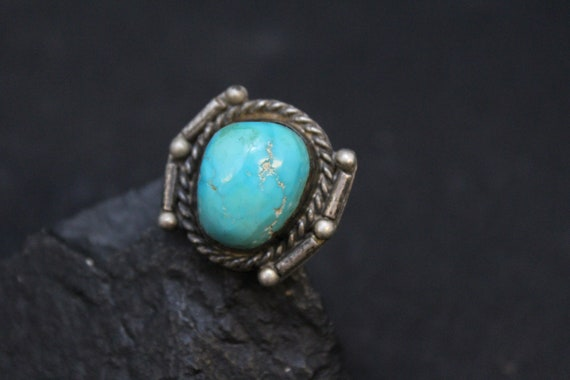 Sterling Silver and Turquoise Old Pawn Men's Navaj