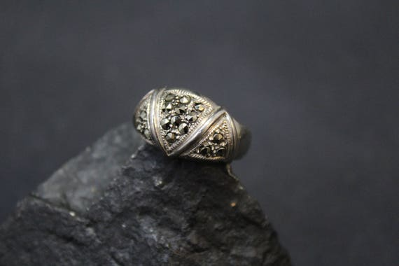 Sterling Silver Art Deco Marcasite Ring, Sterling