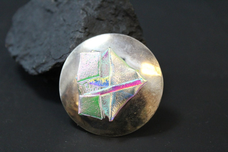 Sterling Silver Hand Signed Dichroic Art Class Brooch Pin with image 0