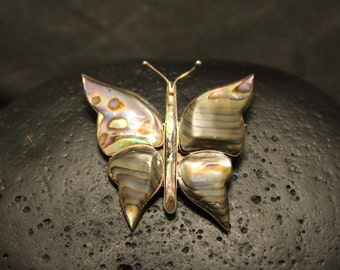 Vintage Sterling Silver Taxco Designer Abalone Butterfly Pin, Mexican Silver Abalone Inlay Brooch 925