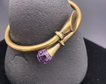 Sterling Hinged Bangle Bracelet, 925 Silver Amethyst Bangle
