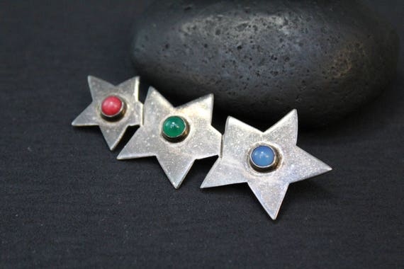 Sterling Silver TAXCO Three Star Gemstone Brooch,