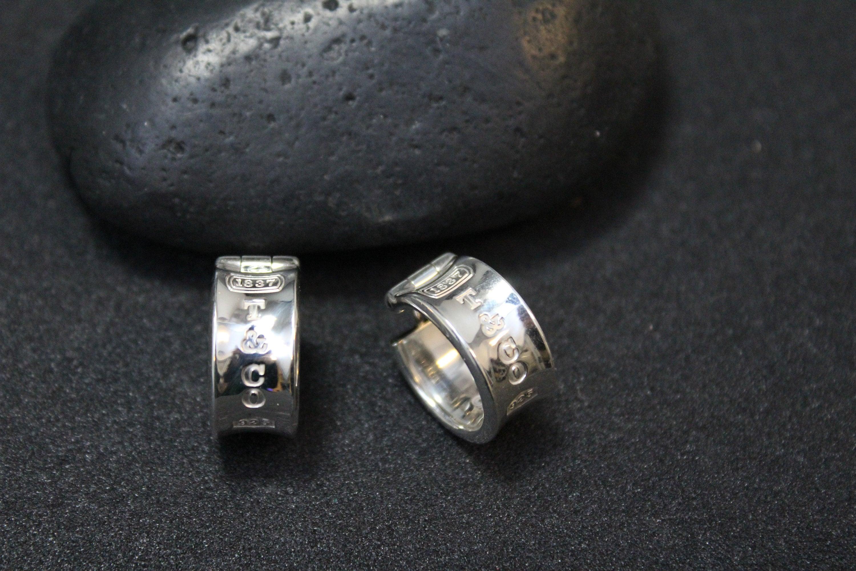 935661680 Retired Sterling Silver Tiffany & Co Wide Hoop Earrings, 1837 Tiffany  Earrings, Tiffany Hoop Earrings, Tiffany and Co Wide Hoop Earrings